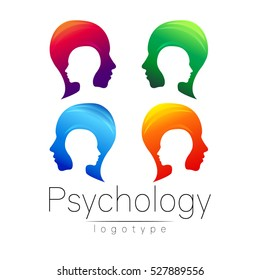 Modern head logo Set of Psychology. Profile Human. Creative style. Logotype in vector. Design concept. Green blue violet orange color isolated on white background. Symbol for web, print, card, brand.
