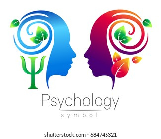 Modern head Logo sign of Psychology. Profile Human. Green Leaves. Letter Psi . Symbol in vector. Design concept. Brand company. Blue violet color isolated on white background. Icon for web, logotype