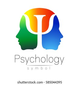 Modern head sign Logo of Psychology. Profile Human. Letter Psi. Symbol in vector. Yellow green blue color isolated on white background. Icon for web, logotype. Gradient
