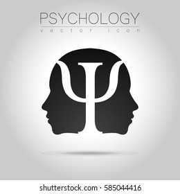 Modern head sign Logo   of Psychology. Profile Human.Icon  in vector. Black color on grey background. Symbol for web, print, card, logotype