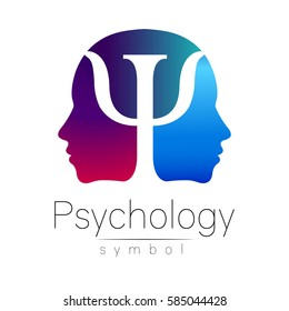 Modern head sign Logo of Psychology. Profile two Human. Letter Psi inside. Symbol in vector. Violet blue color on white background. Icon for web, logotype. Gradient