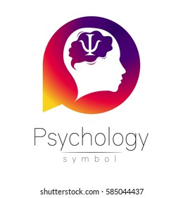 Modern head Sign Logo of Psychology. Human in a circle.Icon in vector.  isolated on white background. Symbol for web, print. Letter psi. Brain. Logotype.