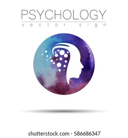 Modern head sign of Psychology. Profile Human. Watercolor style. Symbol in vector. Design concept. Violet color blot. Icon for web, print, Logo, logotype.