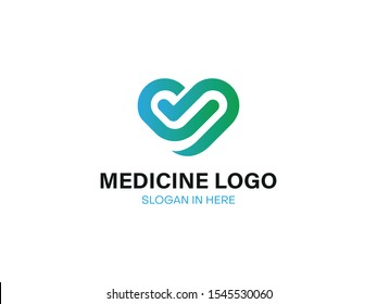 Modern Health Care Business Logo Icon for Hospital Medical Clinic Pharmacy Cross Symbol Design Element with blue and green heart