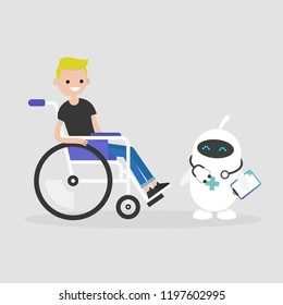 Modern health care. New technologies. Young disabled character sitting in a wheelchair. Disability. Cute white doctor robot. Flat editable vector illustration, clip art