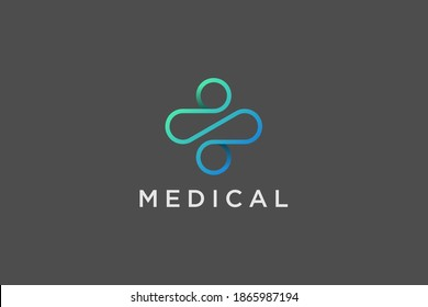 Modern Healthcare Medical Logo. Blue and Green Geometric Linear Rounded Cross Sign Health Icon Infinity Style isolated on Dark Background. Flat Vector Logo Design Template Element.