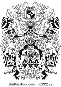 Modern heraldry design in black and white