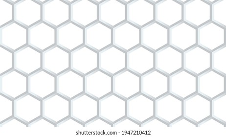 Modern hexagon lines, vector background with 3D hexagonal silver lines on white background. Luxury vector backdrop for product image, landing page, webinar announcement, Linkedin banner, Facebook cove