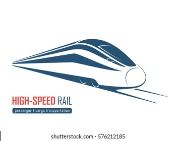 Modern high speed rail emblem, icon, label, silhouette. Vector illustration.
