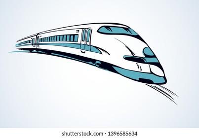 Modernes Hovercraft-Schild aus Hochgeschwindigkeits-Stahl, einzeln auf Landhintergrund. Freehand Linie schwarz handgezeichnet Logo Emblem Piktogramm in Art doodle Druckstift auf weißem Papier für Text. Seitenansicht