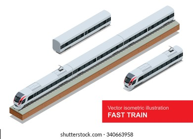 Modern high speed train. Vector isometric illustration of a Fast-Train. Vehicles designed to carry large numbers of passengers.