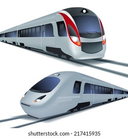 Modern high speed trains, isolated on white background. EPS10 vector.