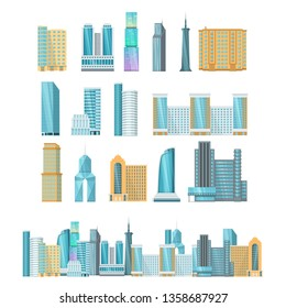 Modern high-rise city skyscrapers. Office city apartment buildings, house residential. Towers city business architecture, business centers, offices, residential buildings vector illustration isolated.