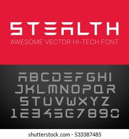 Modern Hi-Tech Font. Vector Techno Alphabet.