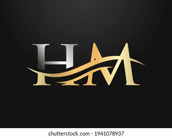 Modern HM Logo Design for business and company identity. Creative HM letter with luxury concept