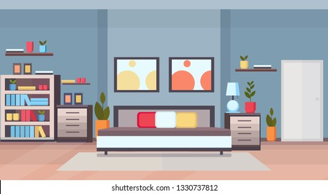 modern home bedroom interior design contemporary bed room empty no people apartment flat horizontal