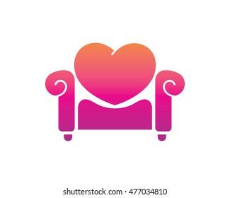 Modern Home Furniture Logo - Love Couch Symbol