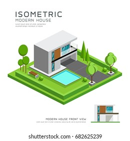 Modern home isometric with lawn design background, vector illustration