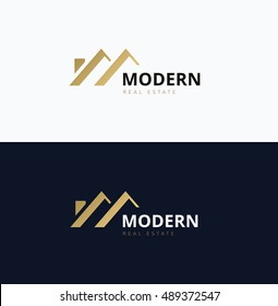 Modern home real estate logo template