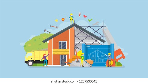 Modern Home Renovation Tiny People Character Concept Vector Illustration, Suitable For Wallpaper, Banner, Background, Card, Book Illustration, And Web Landing Page