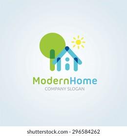 Modern Home Vector Logo Template