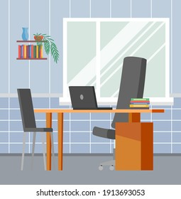 Modern home workplace flat. Office chair and office desk with stack of books in cozy room interior. Furniture and equipment for workplace of employee or home office worker, vector interior workspace