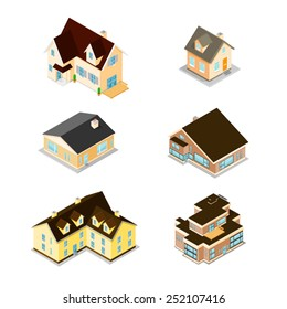 Modern Homes and houses - From small to large. Isometric Homes. Modern homes and houses.