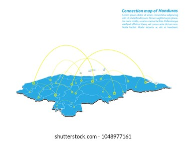 Modern of honduras Map connections network design, Best Internet Concept of honduras map business from concepts series, map point and line composition. Infographic map. Vector Illustration.