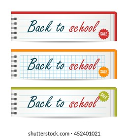 Modern horizontal banners template with Back To School text. Notebook paper layers. Sale, discount theme. Education concept. Vector illustration for web design.