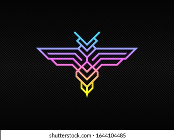 Modern hornet badge logo with blue purple and green RGB colors
