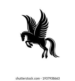 Modern horse pegasus logo. Vector illustration.