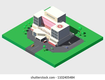 Modern hospital building with ambulance car, vector isometric illustration