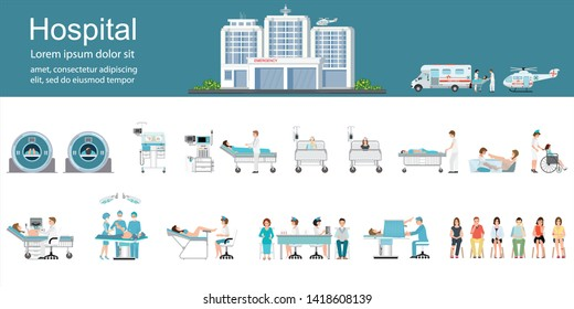 Modern hospital building and healthcare infographics with departments, patients and doctors working, health and care vector illustration.