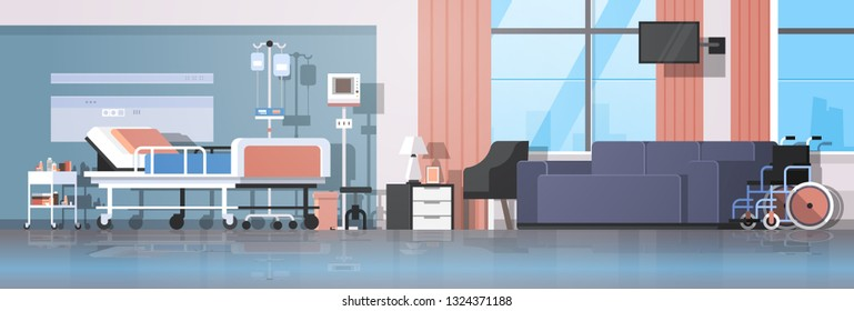 modern hospital room interior intensive therapy patient ward nursing care bed on wheels comfortable couch and wheelchair clinic furniture horizontal
