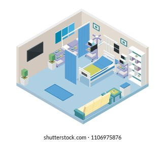 Modern Hospital VIP Intensive Care Unit Room Area Interior in Isometric View Illustration
