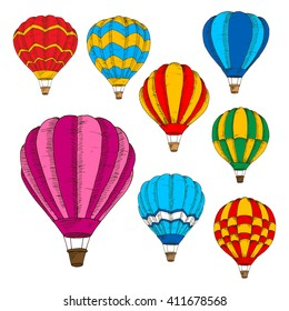 Modern hot air balloons engraving sketches for travel, tourism and night glow festival design usage with bright colorful balloons hovering in the air