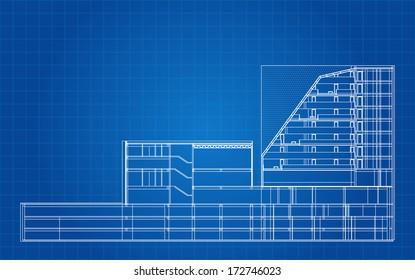 Modern Hotel Building Architectural Blueprint Vector