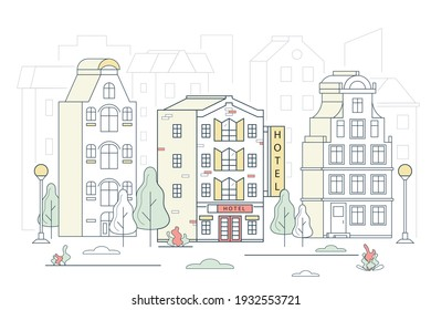 Modern Hotel House Building on a Cityscape Concept Contour Linear Style. Vector illustration of Lineart Facade Motel