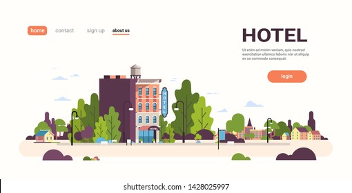 modern hotel house exterior hostel building for business facade landscape cityscape background flat horizontal copy space