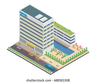 Modern Hotel Isometric, Suitable for Diagrams, Infographics, Illustration, And Other Graphic Related Assets