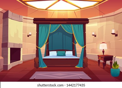 Modern hotel luxury apartments in medieval castle, ancient mansion, kings bedroom cartoon vector interior. Huge wooden bed with curtain, antique furniture, stone fireplace, glass ceiling illustration