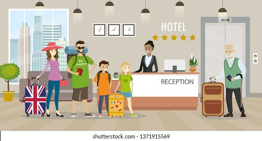 Modern hotel reception interior with furniture.Cartoon People with luggage and woman receptionist.travel and hospitality concept,flat vector illustration