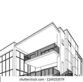 modern house building architectural drawing