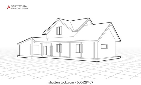 Modern house building vector. Architectural drawings 3d illustration.
