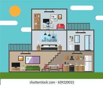 Modern house in cut, Flat style vector illustration, rooms with furniture, Graphic