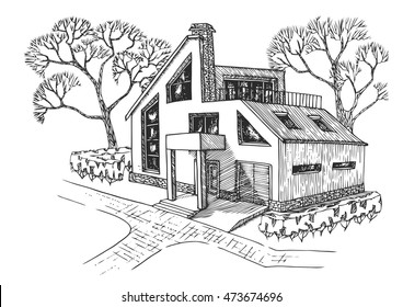 modern house with garage, attic and terrace. Cottage with landscaping. Hand drawing house.
