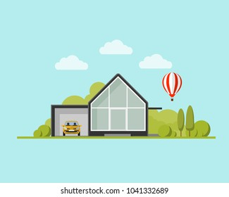 modern house with garden and balloon. Family home. Flat design vector con