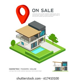 Modern house isometric with red point map, on sale concept design background, vector illustration