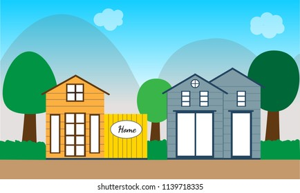 Modern house landscape and hill illustration