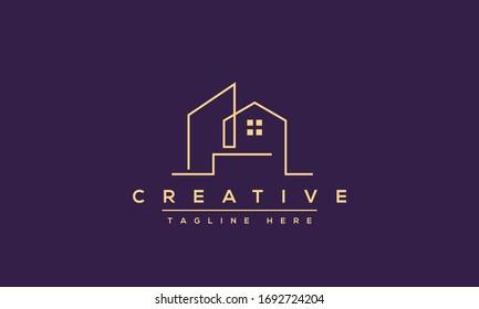 Modern house logo design. Real estate home apartment icon template.